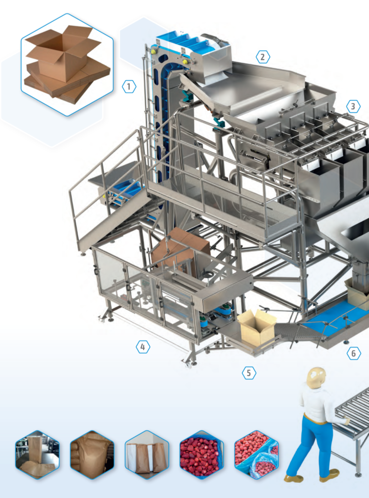 Technological line for packing fruit and vegetables.