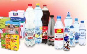 Soki owocowe i nektary, naturalna woda źródlana i woda mineralna
