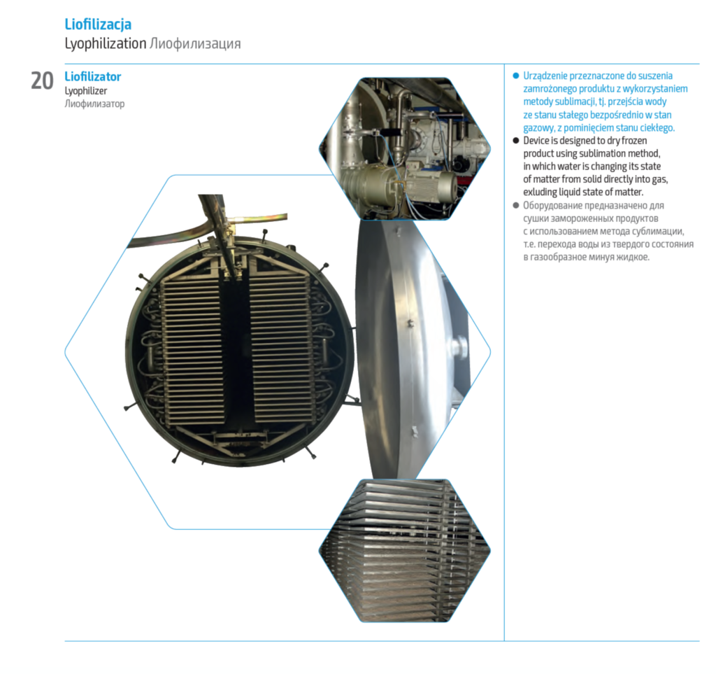 Liofilizacja - Linia do konserwowania produktów przemysłowych, medycznych, spożywczych, owoców i warzyw metodą liofilizacji